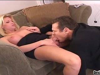 Mature blonde shemale fucks a guy after BJ