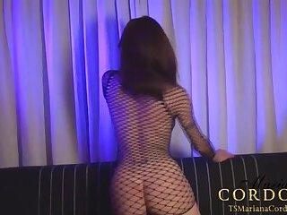 Fishnet bodysuit big titties and a massive cock