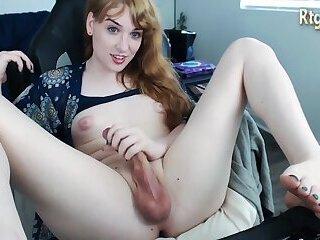 redhead trans beauty with sexy feet legs masturbates with a fleshlight on webcam