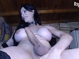 huge boobs shemale milf in stockings shoots big cum