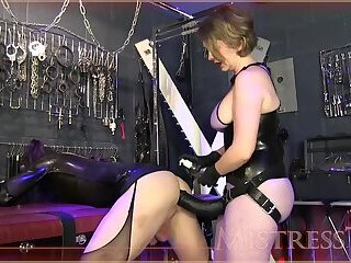 Sissy fucked with huge black strapon