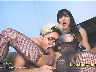 Ladyboy dominates boyfriend by sucking her big cock