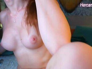 blue eyes redhead trans babe with sexy feet and nice tits masturbates on cam