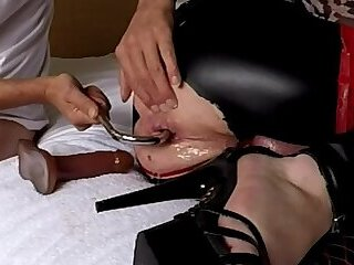 Various anal toys in shemale gaped ass