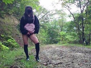 Cute Transgender Ejaculates in Public 2
